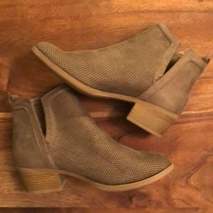 Shoes - Taupe Perforated Booties with Side Slits